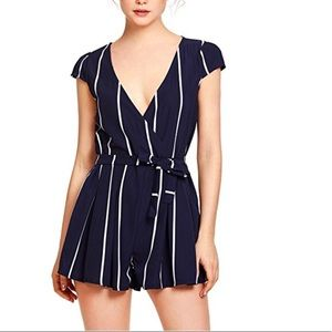 Dresses & Skirts - Vertical Striped Jumpsuit Romper With Belt